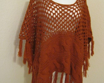 Vintage rust color soft acrylic fringed poncho, dark pumpkin color cabled sweater poncho, acrylic boho sweater fringed poncho one size