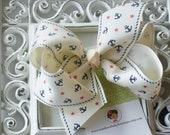 INVENTORY BLOWOUT SALE----Simple Large 4 Inch Hair Bow----Anchors Away----Cream----