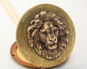 Vintage Locket Lion Head Necklace Jewelry Long Chain Rare Vintage Basket Weave Locket Limited Edition Animal Jewelry