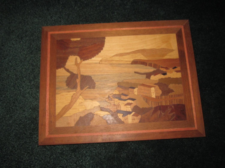 Wood Inlay Wall Decor : Vintage beautiful folk art marquetry wood inlay wall plaque