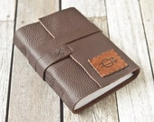 Brown Leather Journal with Get Out Fast Hobo Symbol