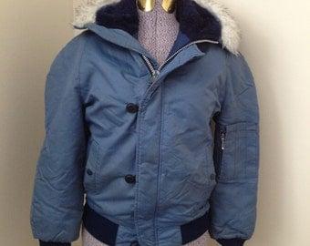 RETRO snorkel jacket women's xs size 16 kids RARE blue faux fur parka vintage