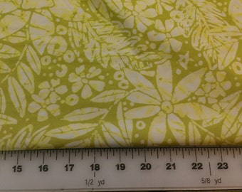 Green Yellow Tropical Print Spandex 1yd