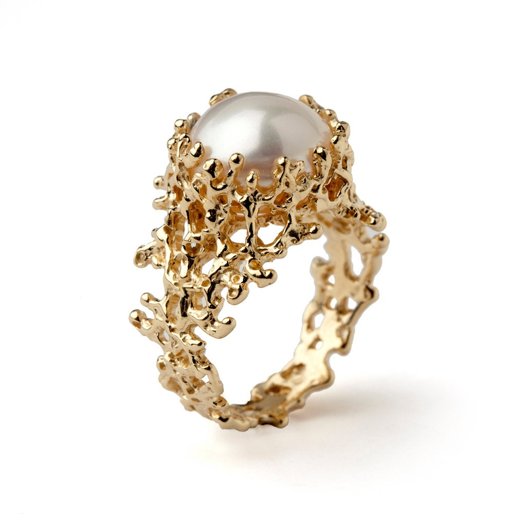 Pearl Wedding Rings: CORAL Gold Pearl Ring Gold Pearl Engagement Ring Organic