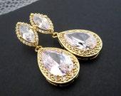 Gold Bridal earrings, Crystal Wedding earrings, Teardrop earrings, Bridal jewelry, Rose Gold earrings, Cz earrings, Bridesmaid earrings