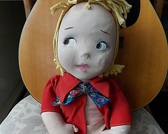 Vintage Cloth Molded Face 1950s Doll Shabby Sweet Painted Face