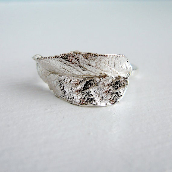 Sterling Silver Sage Leaf Wrap Ring. Right Hand Ring. Cocktail Ring.