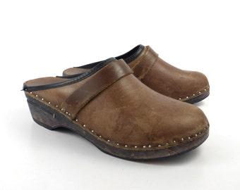Wooden Clogs Shoes Vintage 1980s Bastad Sweden Swedish Olive Brown Leather Size 37