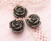 Black Glitter Rose Cabochon | Flower Cabochon | Flower Resin Cabochon | Flower Resin Jewelry - 10pcs