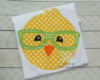 Nerdy Boy Chick Easter Applique