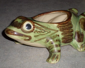 Brush McCoy Pottery Frog planter vase natural earth tone glaze garden ornament statue