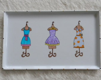 Porcelain tray hand painted with dress maker's dress forms for bed and bath or valet