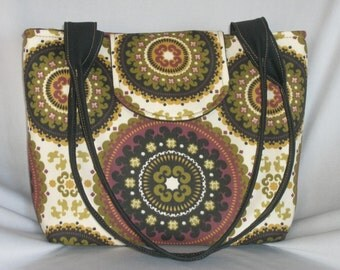 Purse Shoulder Bag Medium-Sized Flap Medallion Print in Olive Green Eggplant Black Gold and Cream Double Straps Pockets