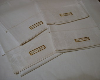 Matching Set of 4 Antique Linen Damask Guest Towels with Labels