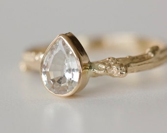 White Sapphire Pear Engagement Ring Bezel Set with Twig Band in 14k Gold