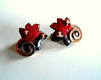 Vintage MATISSE Enamel and Copper Red Maple Leaf Earrings