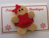 Gingerbread Girl Hair Clip-Toddler Hair Clip-Fine Hair Clip-Christmas Hair Clip