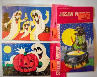 THREE 1970s Halloween Puzzles GREAT FUN