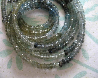 Shop Sale..  1/2 Strand, 4 mm MOSS AQUAMARINE Rondelles, Luxe AAA, Faceted, march birthstone brides bridal-