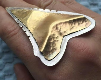 Great White Shark Tooth in sterling and bronze -  Made in the USA