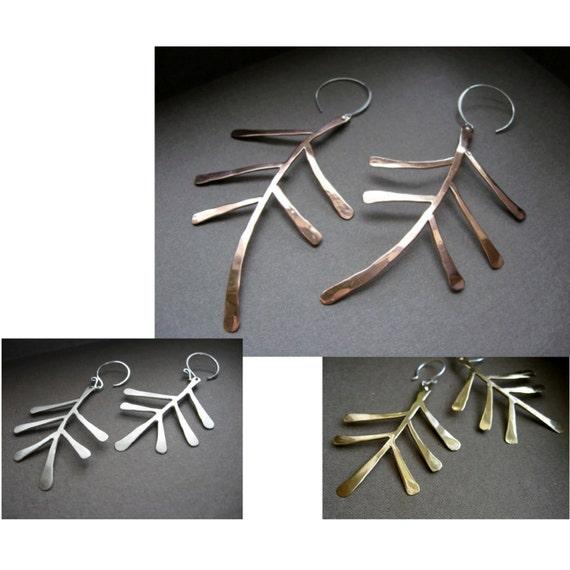 Lg- Sm Fern earrings in  in Copper, Bronze or Sterling on sterling ear wires