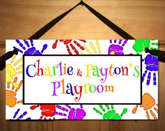 Handprint Playroom Teacher Classroom DOOR SIGN Present Gift DS0184
