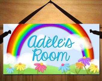 Personalized DOOR SIGN Rainbow Flowers Sign Girls Bedroom Plaque Baby Nursery Kids Bedroom Door Sign Wall Art Personalized Name DS0204