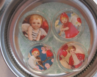 Sweet Set of Four Vintage Style Glass Magnets VALENTINE Set Two