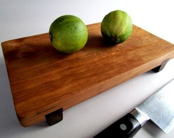 RECLAIMED beautiful CHERRY raised Small serving/cutting board eco hardwoods