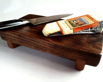 ECO Reclaimed Thick BLACK WALNUT Raised Cheese/Cutting Board