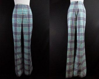 1960s Pendleton Plaid Pants Wide Legged High Waist Wool Slacks Large