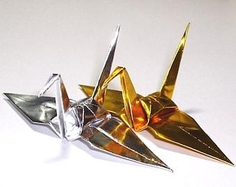 100 Small Origami Cranes Origami Paper Cranes Paper Crane Origami Crane - Made of 7.5cm 3 inches Japanese Foil Paper - Gold Silver