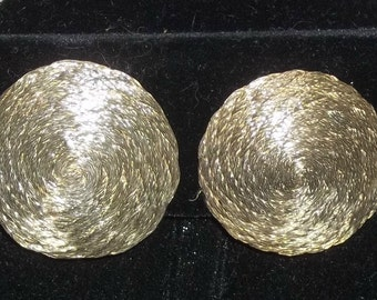 Vintage Round Circular Button Cymbal Clip On Earrings Gold Tone
