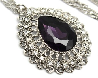 Amethyst Pendant  Huge Crystal Violet Purple Eggplant Jewelry Wedding Bridal Necklace Vintage Style