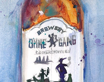 Ommegang Hennepin -Beer Art Print  from Original Watercolor - Brewery