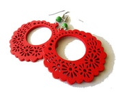 Red Wooden Floral Hoops and Green Stone Earrings , festive , spring summer