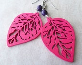 Pink Leaf Earrings with Purple Stone Beads
