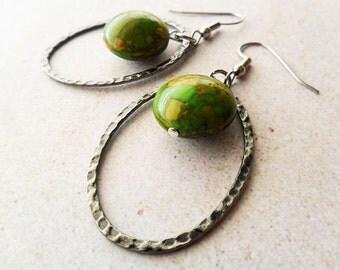 Green Mosaic Turquoise Oval Hoop Earrings, modern urban