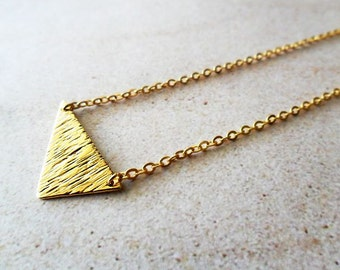 Gold Textured Triangle Minimalist Necklace, Scalene, geometric, t shirt necklace