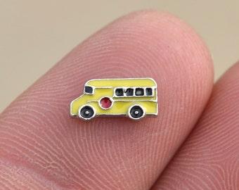 1 Memory Locket Yellow School Bus Charm FL211