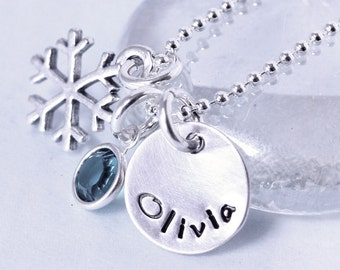 Snowflake Birthstone Personalized necklace - custom hand stamped holiday gift