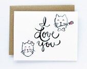 Valentine Card, Anniversary, Love Card - I Love You Cats Card