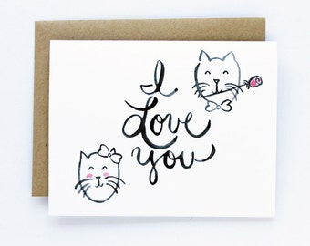 Valentine Card, Anniversary, Love Card - I Love You Cats Card
