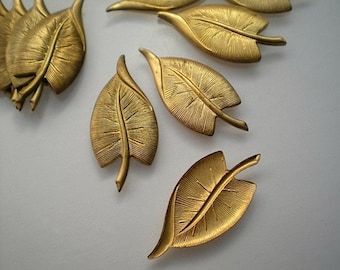 12 brass leaf charms, No. 4