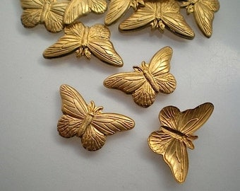 12 small brass butterfly charms