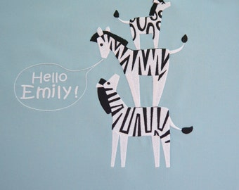 embroidered nursery pillows with zebras personalized baby boys girls other animals greeting in english or any language black icy blue
