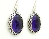 Oval purple quartz silver and gemstone earrings
