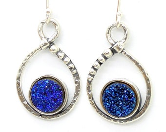 Blue druzy earrings set in silver