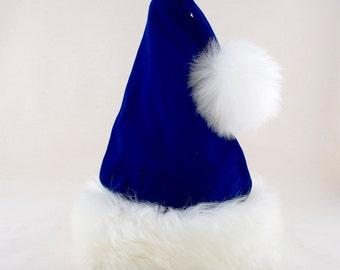 Prancer Blue Velvet Santa Hat, Reversible to Tartan