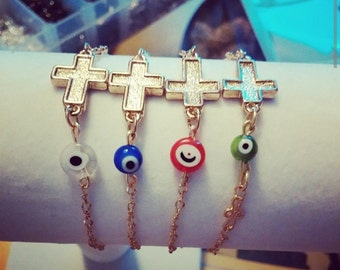 Evil eye bracelet, Sideways cross bracelet,